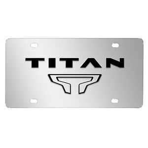 Nissan Titan Dual 3d Black Logo Mirror Chrome Stainless Steel License Plate