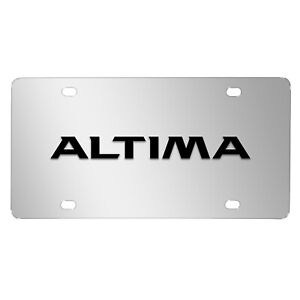 For Nissan Altima 3d Black Logo Mirror Chrome Stainless Steel License Plate