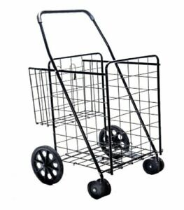 360 Folding Super Jumbo Shopping Cart sturdy Max Load 200lb Durable black