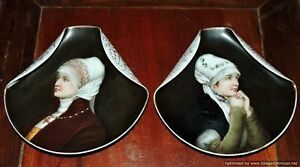 Antique Pair Continental Porcelain Hand Painted Portrait Plates Vienna Paris
