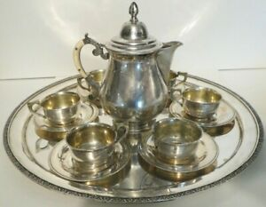 Vintage Persian Solid Silver 14 Pc Tea Set Cups Saucers Pot And Tray 1685 Grams