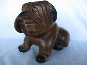 Bull Dog Wood Hand Carved