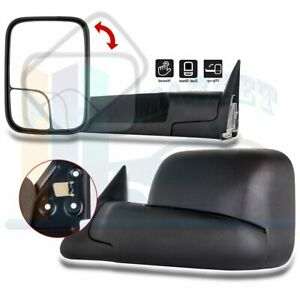 Manual Black Side View Towing Mirrors Pair For 1994 2002 Dodge Ram Truck Pickup