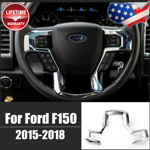 For Ford F150 Steering Wheel Moulding Chrome Cover Trims Accessories 2015 2018