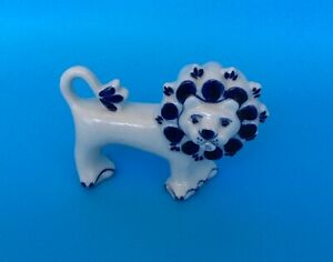 Porcelain Lion Figurine Collectable Hand Painted Blue On White Ussr 4 5 X 2