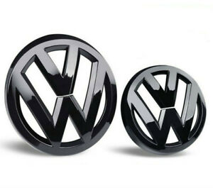 Glossy Black Front And Rear Badge Emblem For Vw Volkswagen Gti Mk7 Golf7 Set