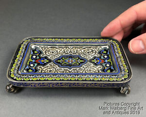 Russian Enamel Silver Tray By Ovchinnikov Foliate Design Circa 1880 Moscow