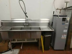 Commercial Stainless Steel 3 Compartment Sink