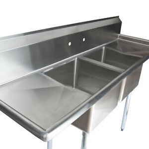 72 Stainless Steel 2 Compartment Commercial Restaurant Sink Two Drainboards Nsf