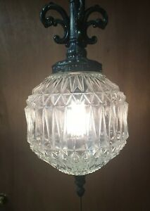 Vintage Mid Century Modern Glass Swag Lamp Large Hanging 11 Inch