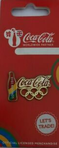 OFFICIAL COCA COLA LONDON 2012 OLYMPIC RINGS AND BOTTLE PIN BADGE BRAND NEW