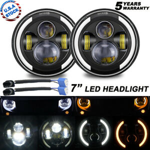 Pair 7 Inch Round Led Headlight Hi lo Beam Halo Projector For Kenworth T2000