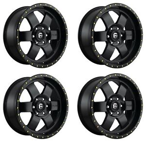 Set 4 18 Fuel Podium D618 Satin Black Wheels 18x9 6x5 5 20mm 6 Lug Truck Rims