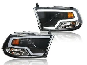 Pair Black Projector Headlights Plank Style Led Bar For 2009 2018 Dodge Ram 1500