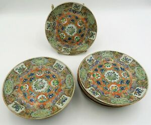 Beautiful Group Of 11 19th C Antique Chinese Export Famille Rose 6 Inch Plates