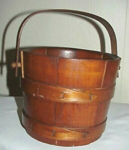 Vtg Antique Americana Wooden Firkin Sugar Bucket Pegged Bentwood Swing Handle