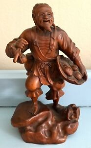 Antique 19th Century Chinese Carved Wooden Figurine Statue Market Man With Fish