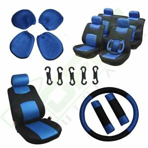 Balck Blue 11pcs Car Seat Covers W Steering Wheel Cover Belt Pads Breathable