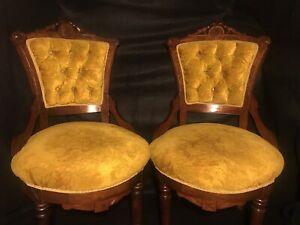 Late 1800s Pair Of Victorian Parlor Chairs Tufted Oak Burl Walnut Brass Casters