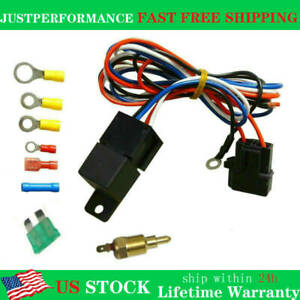 Cooling Thermostat Fan Sensor Temperature Switch Wiring Relay Kit New