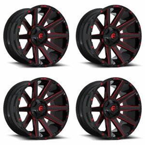 Set 4 22 Fuel Contra D643 Black Milled W Red Wheels 22x12 8x170 44mm Lifted
