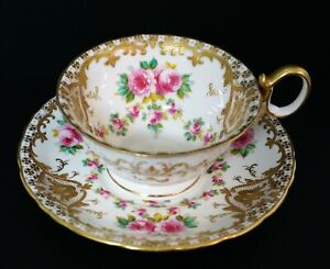 Antique Hand Painted Pink Roses Swags Wedgwood Porcelain Cup And Saucer A