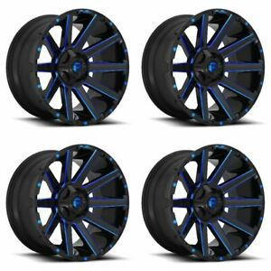 Set 4 22 Fuel Contra D644 Black Milled W Blue Wheels 22x12 6x135 6x5 5 44mm