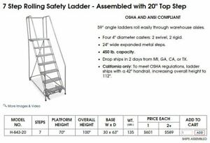 Uline 59 Degree Angle 7 Step Rolling Safety Ladder