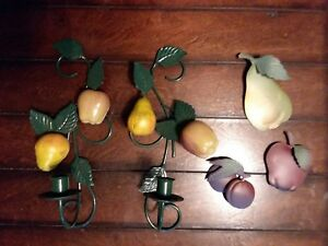 Fruit Pear Apples Metal Wall Sconces Candle Holder Votive Cup Tin Fruit