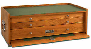 Gerstner International 3 Drawer 24 oak veneer Midbase Chest Green Feltliner M 24