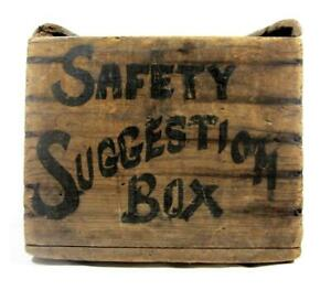 Antique C 1915 Graphic Safety Box Folk Art Primitive Wood Sign Ballot Aafa