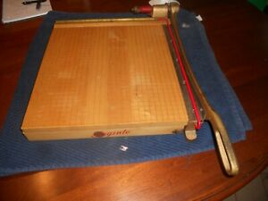 Vintage Ingento 5 Cast Iron Maple Wood Guillotine Paper Cutter 15 5 X 15 5