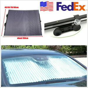 Uv Protection Aluminum Foil Retractable Car Front Windshield Curtain Sun Shield