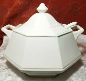 Vintage White Soup Vegetable Tureen Lid And Ladle