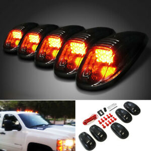 Smoked Lens Led Bulb In Cab Roof Marker Lights W Strobe Remote For Pickup Truck