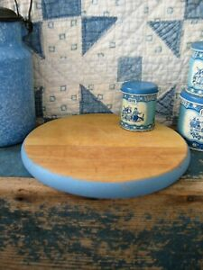 Sm Antique Round Wood Bread Cutting Board French Blue Milk Paint Free Shipping