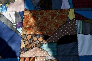 Vintage Antique Deco Huge Crazy Quilt Feather Stitch 122 X 84 Tufted Patchwork
