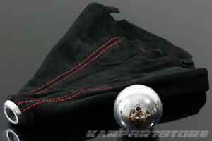 For Element Fit Crv Round Shape Shift Knob Polish Finish Red Stitch Suede Boot
