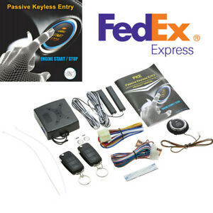 Car Keyless Entry Alarm System Start Stop Push Button Engine Remote Control Kit