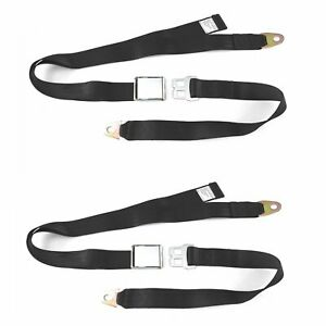 2pc 2 Point Black Lap Seat Belt With Dot Cert 88 Inch Pair Streets Rods