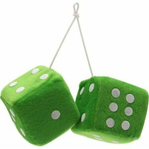 3 Green Fuzzy Dice With White Dots Pair Hot Rod