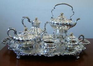 Magnificent English 925 Sterling Silver Coffee And Tea Set Service With Samovar