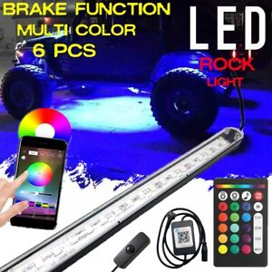 6 Tube Led Neon Rock Light Bluetooth Remote Under Glow Body Car Offroad Truck