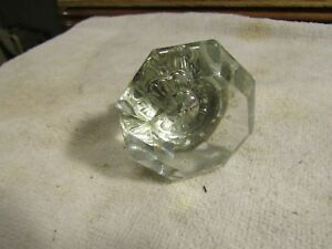 Antique Victorian 8 Sided 2 25 Glass Knob With Brass Housing And Shaft