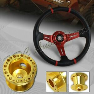 For 94 01 Acura Integra 350mm Red Carbon Pvc Steering Wheel Gold Aluminum Hub