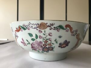 Antique Chinese Export Porcelain Punch Bowl