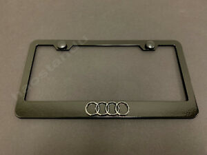 1x 4 Ring Logo 3d Emblem Black Stainless License Plate Frame Rust Free s caps