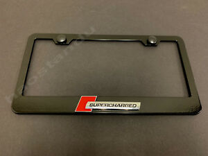 1x Supercharged 3d Emblem Black Stainless License Plate Frame Rust Free S Caps