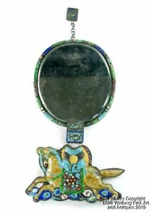 Chinese Gilt Copper Enamel Court Necklace Mirror With Large Horse Plaque 19thc