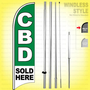 Cbd Sold Here Windless Swooper Flag Kit 15 Feather Banner Sign B h